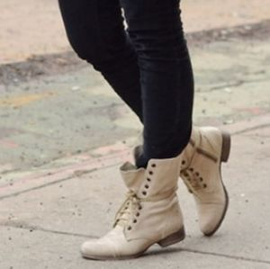 Steve Madden Troopa Leather Mid Calf High Boots